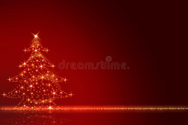 Рождественская елка золота блестящая против красного цвета запачкала предпосылку с текстом с Рождеством Христовым бесплатная иллюстрация