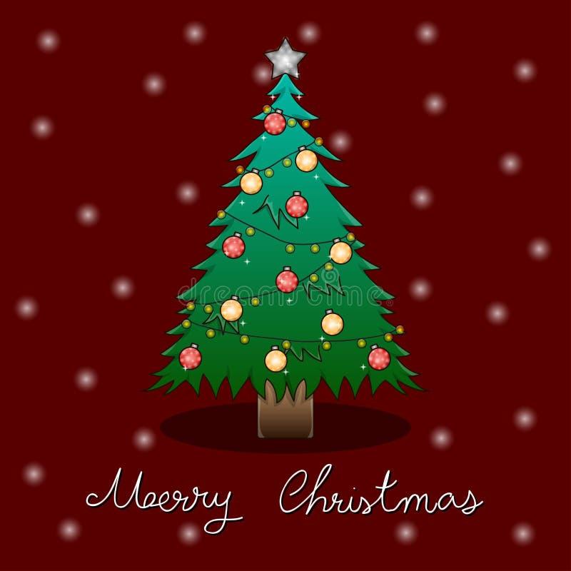 Рождественская елка и белая поздравительная открытка снега на красной предпосылке также вектор иллюстрации притяжки corel бесплатная иллюстрация