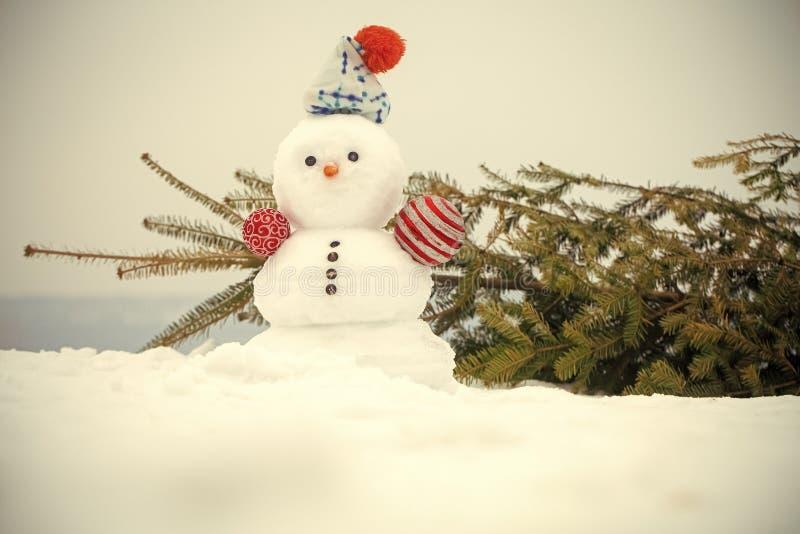 Рождественская елка и снеговик на белом небе на снежной предпосылке стоковое изображение