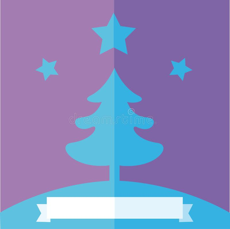 Рождественская елка над фиолетовой предпосылкой и белой лентой иллюстрация вектора