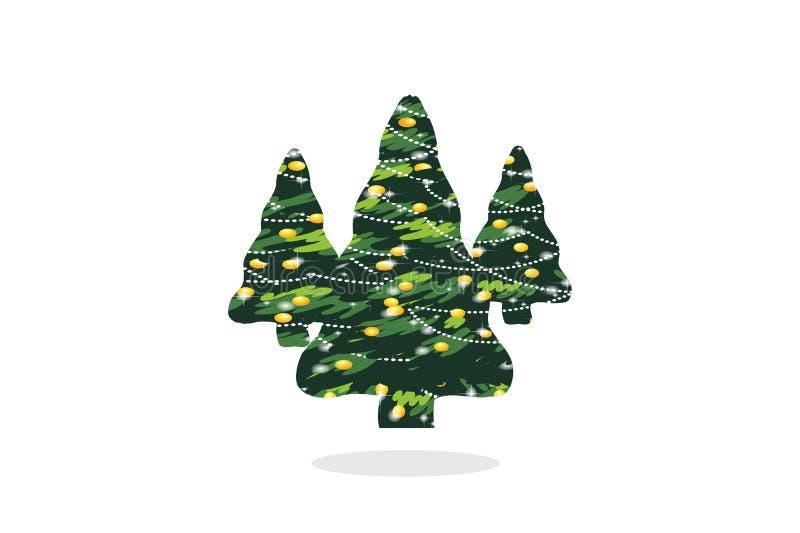 Рождественская елка на белой предпосылке Стиль дизайна иллюстрация вектора