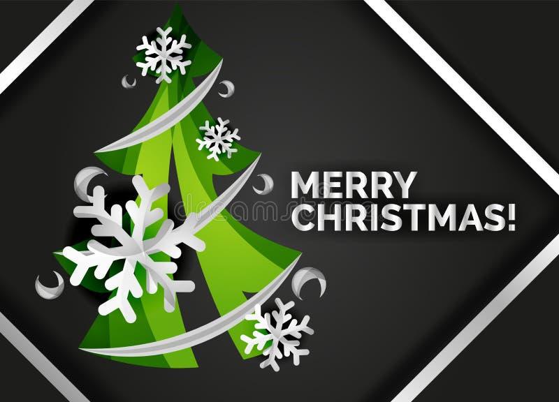 Рождественская елка отрезала бумажное искусство, современный минимальный дизайн иллюстрация штока