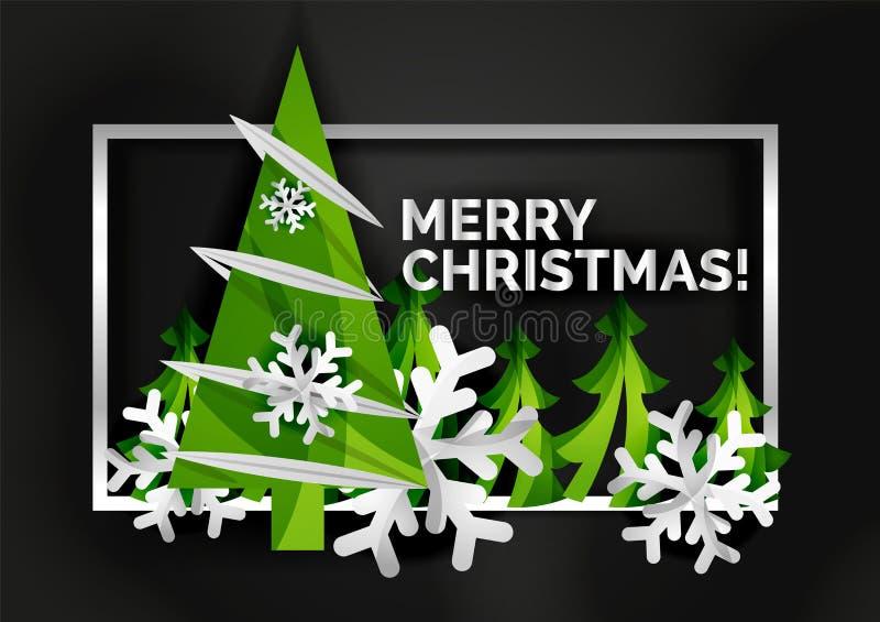 Рождественская елка отрезала бумажное искусство, современный минимальный дизайн бесплатная иллюстрация