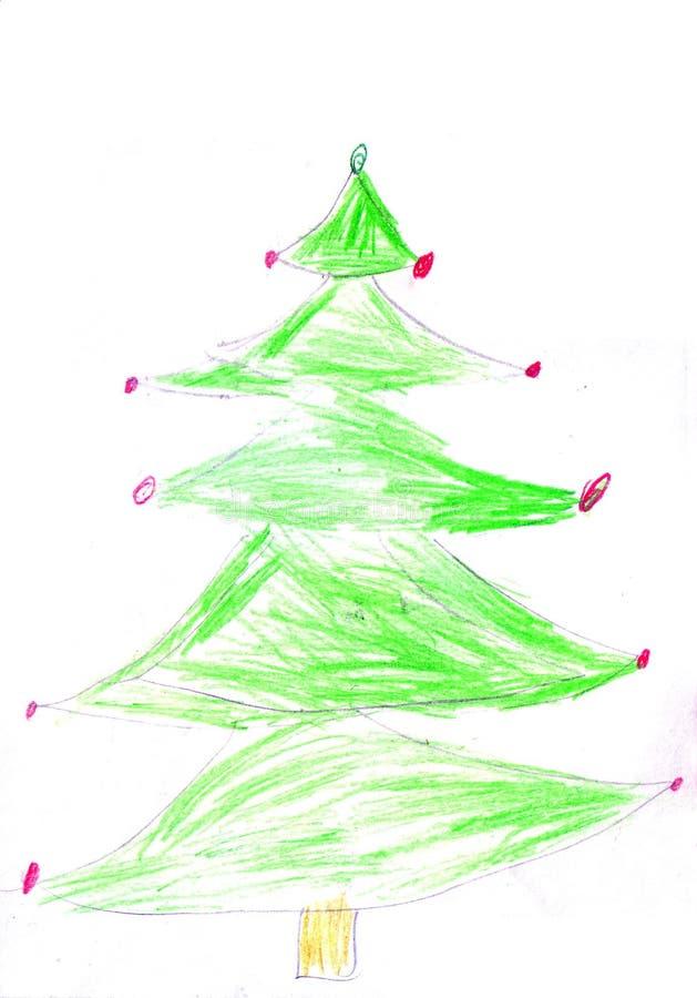 Рождественская елка ребенка рисуя на белой предпосылке бесплатная иллюстрация
