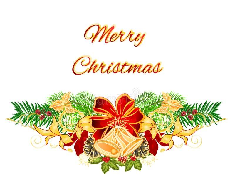 Рождественская елка рождества и Нового Года декоративная обхватывает праздничный yew poinsettia и колоколы и конусы сосны Изображ иллюстрация вектора
