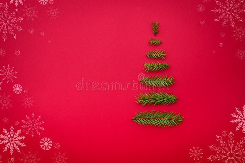 Рождественская елка символа от ели разветвляет на красной предпосылке полисмен стоковые фото