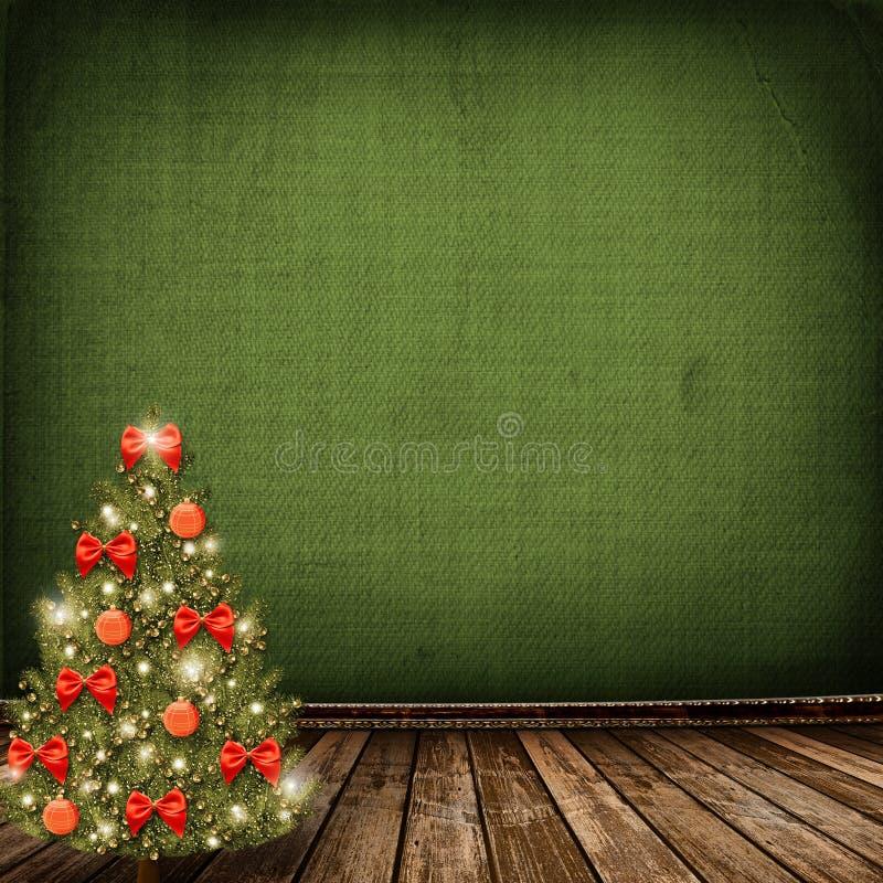 рождественская елка смычков шариков бесплатная иллюстрация