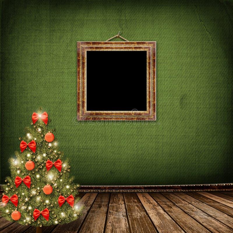рождественская елка смычков шариков иллюстрация штока