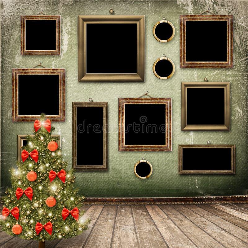 рождественская елка смычков шариков иллюстрация вектора