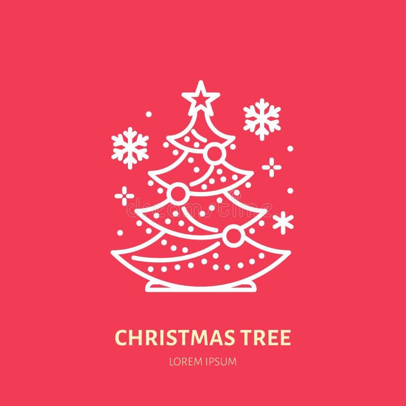 Рождественская елка, сосна, линия значок украшения Нового Года плоская Иллюстрация вектора зимних отдыхов, знак для торжества иллюстрация вектора