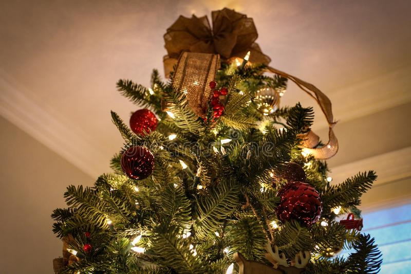 Рождественская елка со светами, орнаментами & звездой | Рождественские елки стоковое фото rf