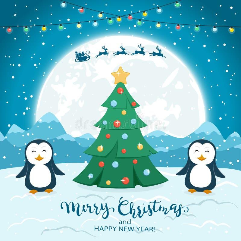Рождественская елка со счастливыми пингвинами и Санта на голубой предпосылке бесплатная иллюстрация