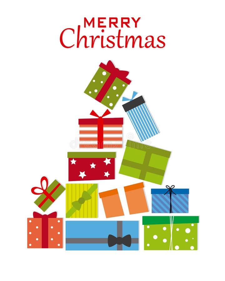 Рождественская елка с пакетами подарка бесплатная иллюстрация