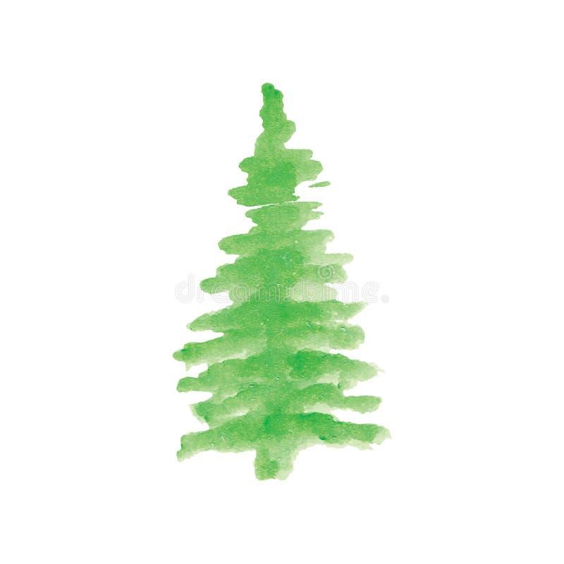 Рождественская елка с покрашенным рукой вектором акварели иллюстрация вектора