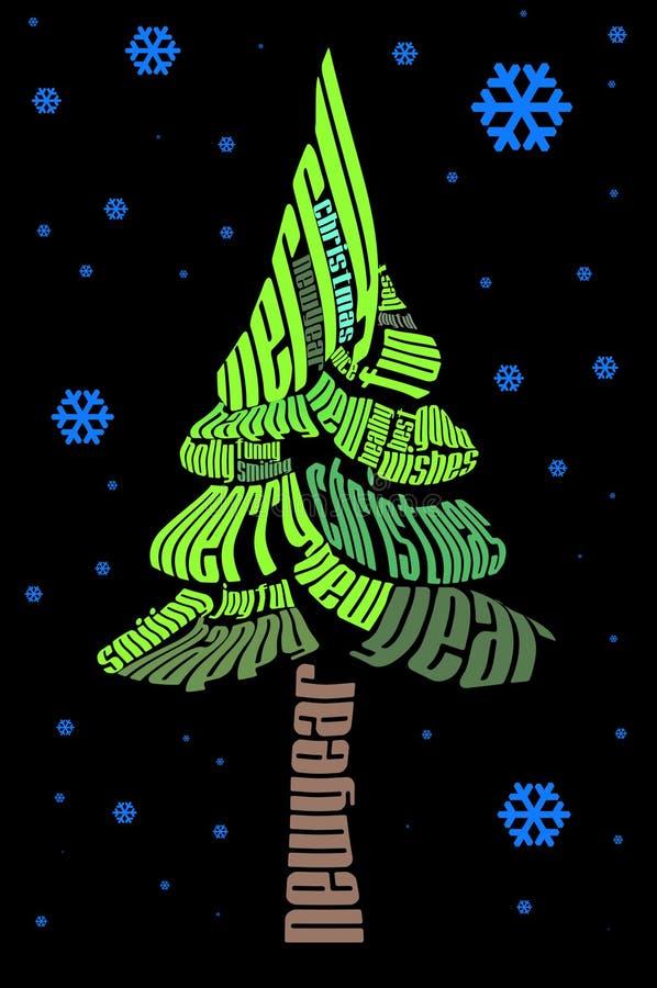 рождественская елка типографская бесплатная иллюстрация