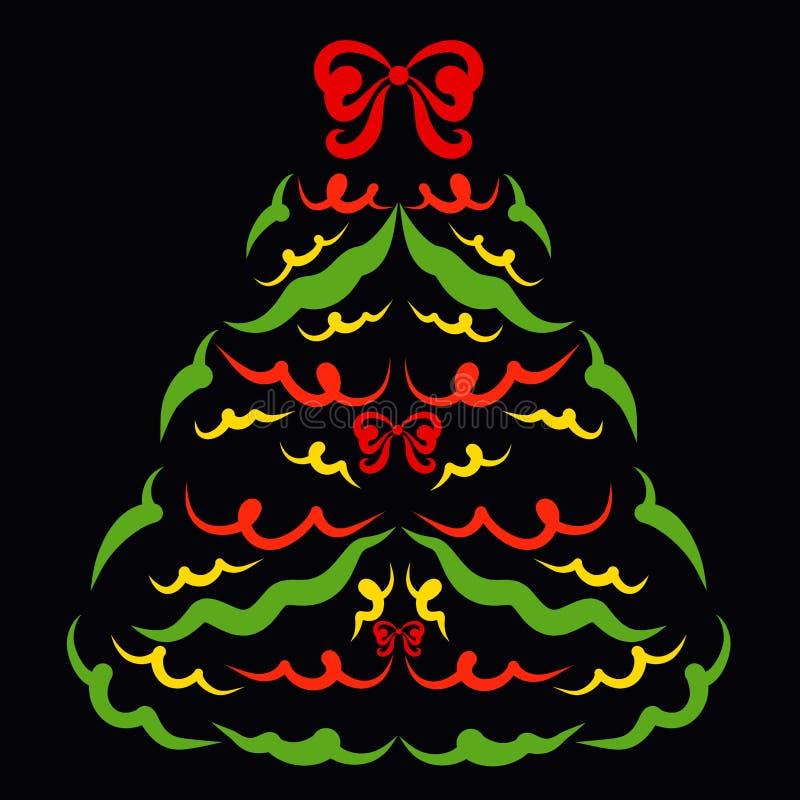 Рождественская елка украшенная со смычками, картина на черной предпосылке иллюстрация вектора