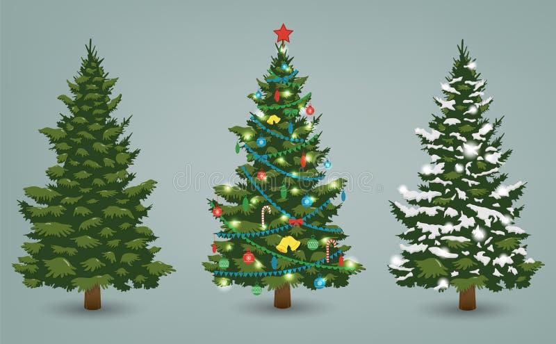Рождественская елка установила для поздравительной открытки, приглашения, знамени и веб-дизайна вектор иллюстрация штока