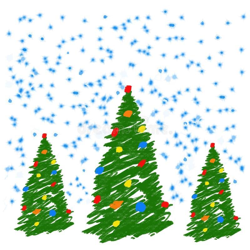 Рождественская елка чертежа руки с шариками Как crayon ребенка рисуя или ель карандаша яркая ая-зелен Как дети рисуя dood вектора иллюстрация штока