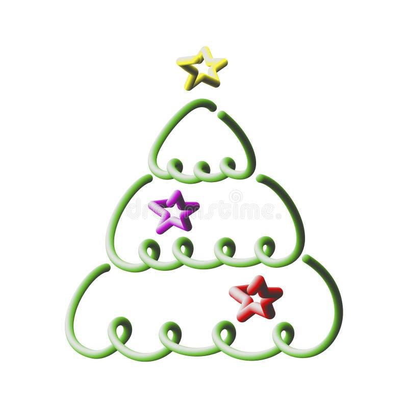 Рождественская елка, 3D - объемная глушь, трехмерная иллюстрация вектора иллюстрация вектора