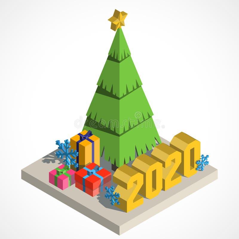 Рождественская елка isometry бесплатная иллюстрация
