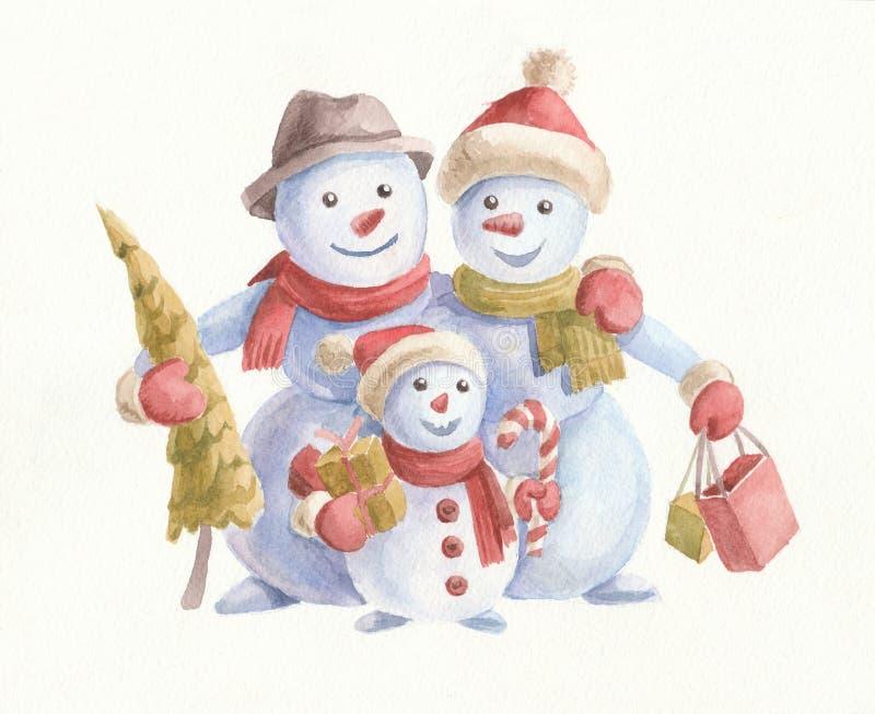 Рождественская картинка с водяным цветом с милыми снеговиками, рождественской елкой и подарками Семья на белом фоне стоковое фото rf