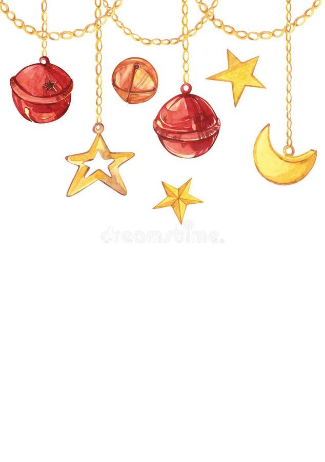 Рождественская открытка акварели с полумесяцем, звезда и колоколы висят на цепях золота Изолированная вертикальная рамка прямоуго иллюстрация штока