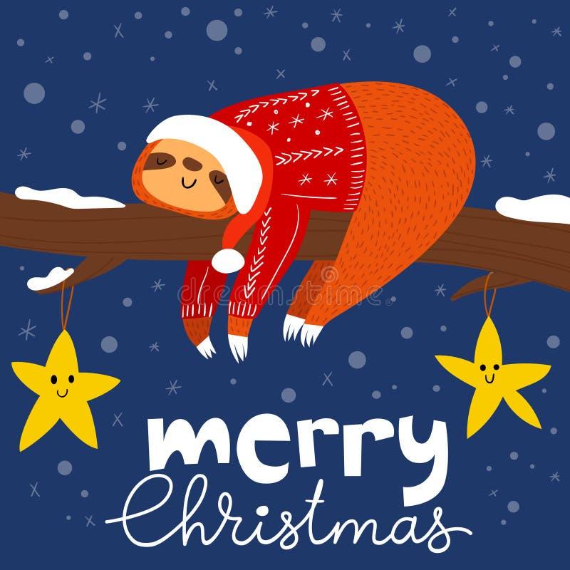 Рождественская открытка вектора веселая с милой смешной ленью иллюстрация штока