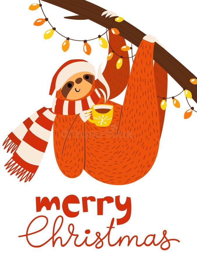 Рождественская открытка вектора веселая с милой смешной ленью с кофейной чашкой и светами иллюстрация штока
