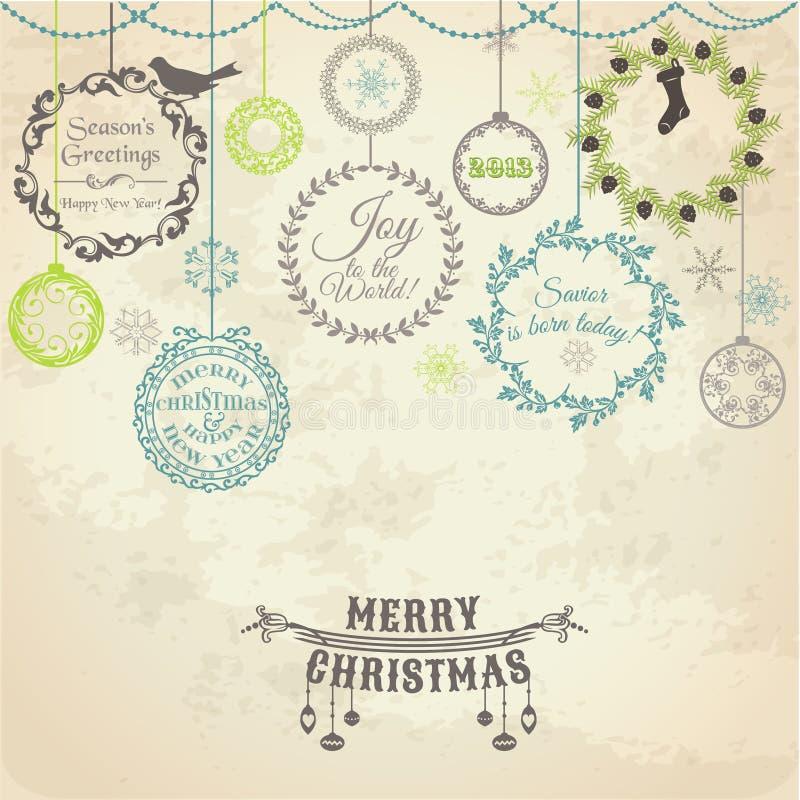 Рождественская открытка год сбора винограда бесплатная иллюстрация