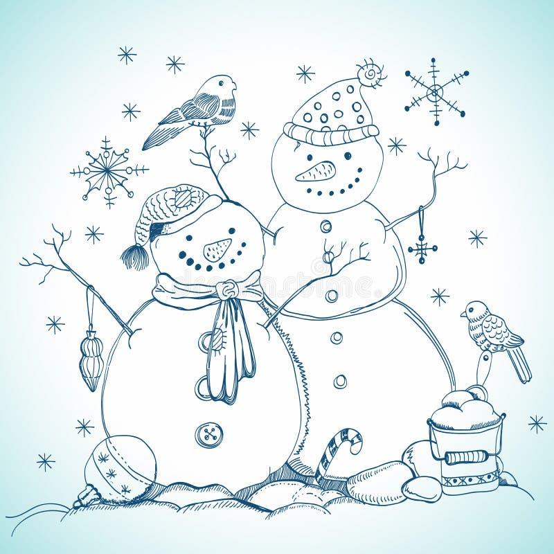 Рождественская открытка для конструкции xmas с снеговиками бесплатная иллюстрация