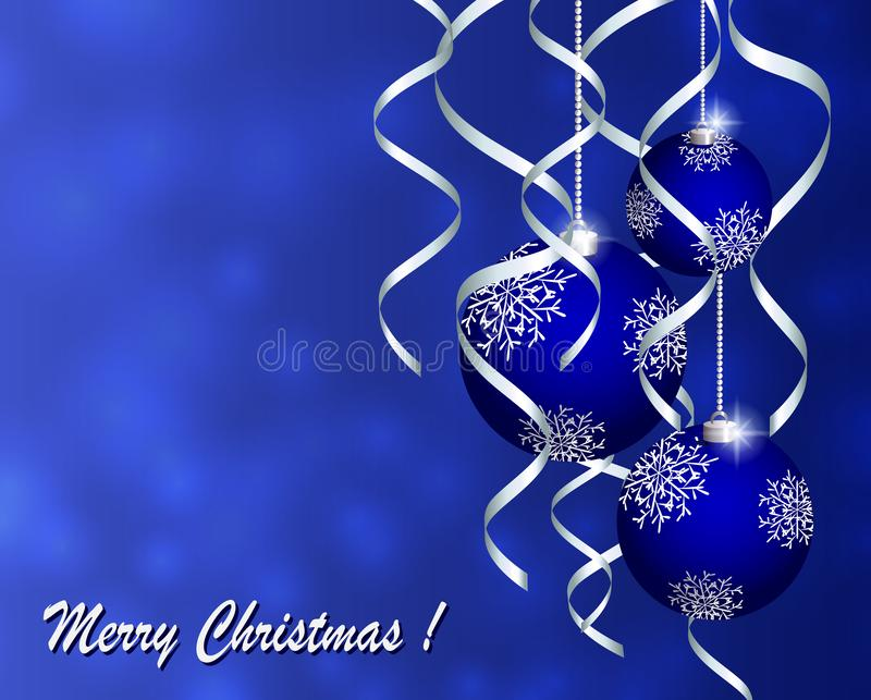Рождественская открытка приветствию с голубыми шариками с белыми снежинками на голубой предпосылке иллюстрация штока