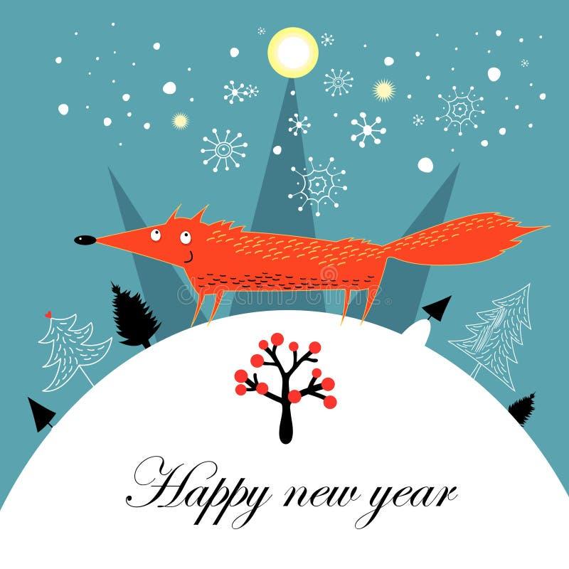 Рождественская открытка приветствию с лисицей иллюстрация штока