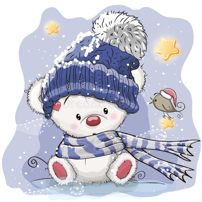 Рождественская открытка приветствию с полярным медведем бесплатная иллюстрация