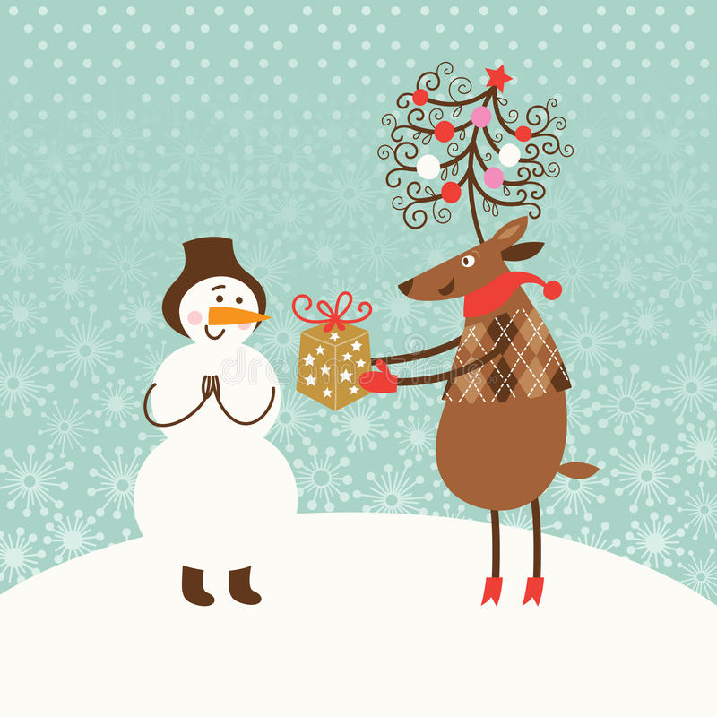 Рождественская открытка приветствию бесплатная иллюстрация