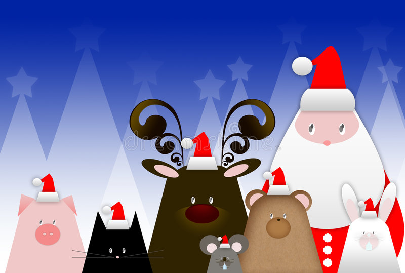 Рождественская открытка приветствию иллюстрация штока