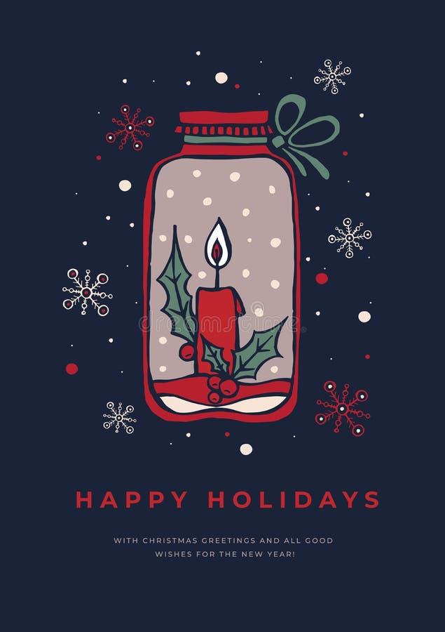 Рождественская открытка руки вычерченная с подсвечником и снежинками на темной предпосылке иллюстрация вектора