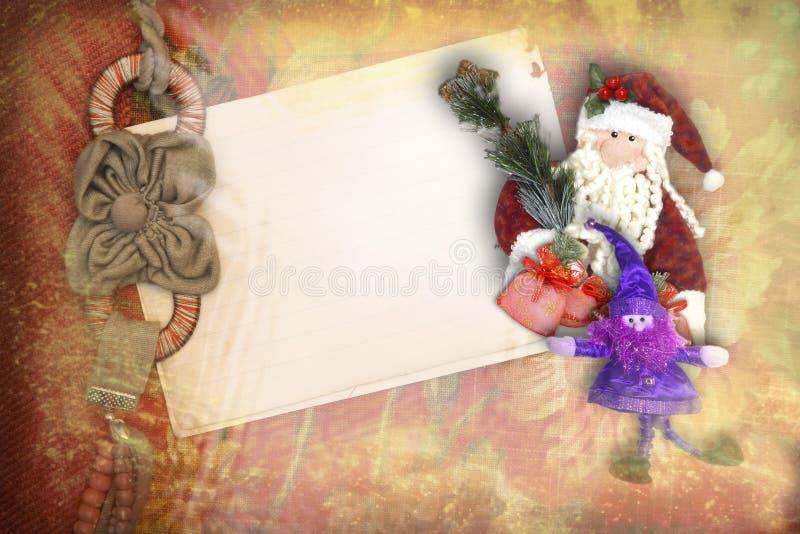 Рождественская открытка сбора винограда с космосом для текста иллюстрация вектора