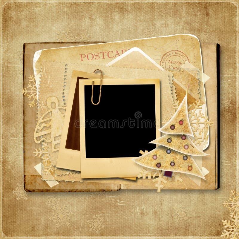 Рождественская открытка сбора винограда с поляроидной рамкой бесплатная иллюстрация