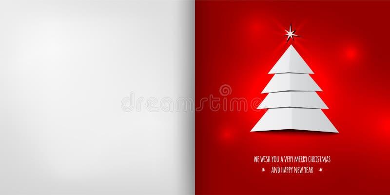 Рождественская открытка с абстрактной рождественской елкой на красной предпосылке иллюстрация вектора