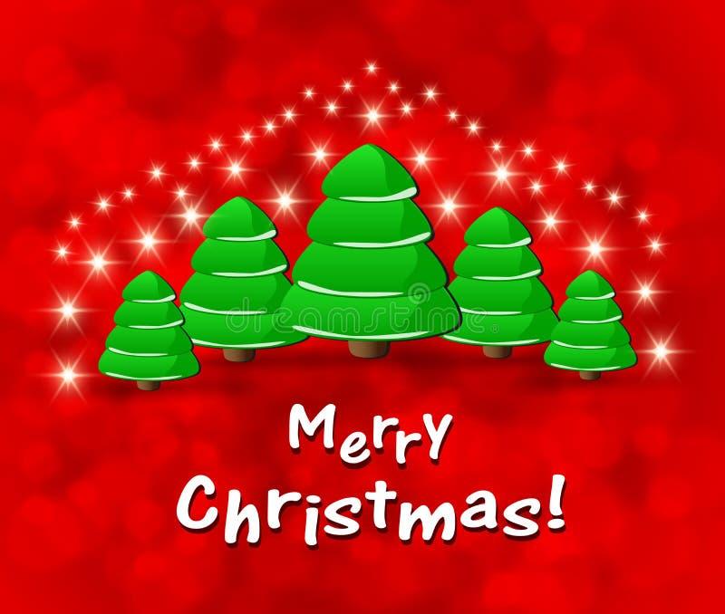 Рождественская открытка с абстрактными зелеными рождественскими елками иллюстрация вектора