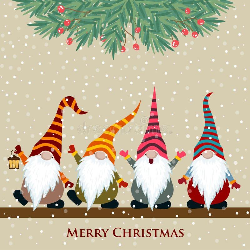 Рождественская открытка с гномами бесплатная иллюстрация