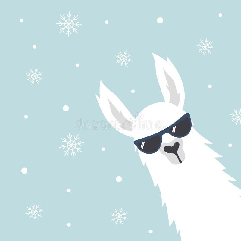 Рождественская открытка с ламой иллюстрация вектора