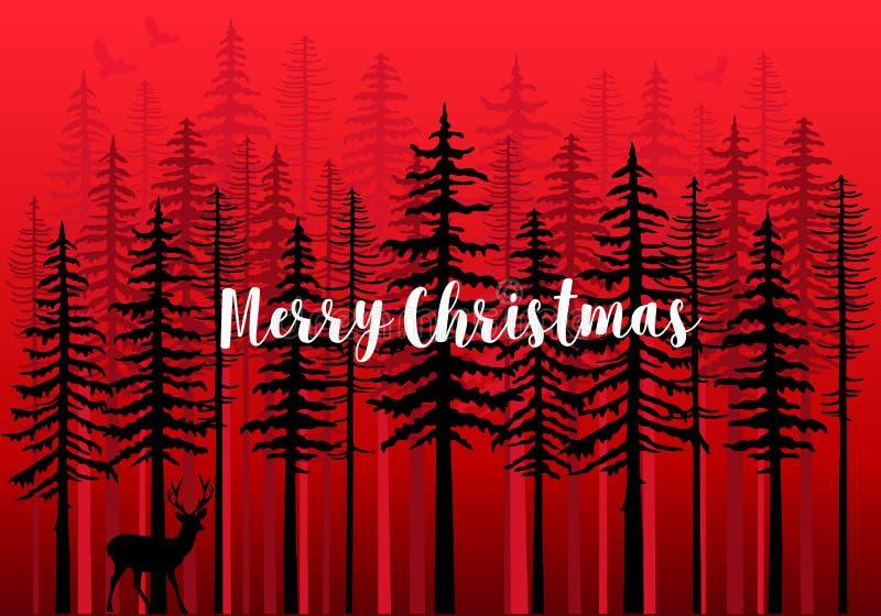 Рождественская открытка с лесом зимы, вектором иллюстрация вектора