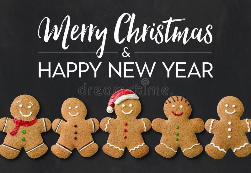Рождественская открытка с людьми пряника стоковые изображения rf