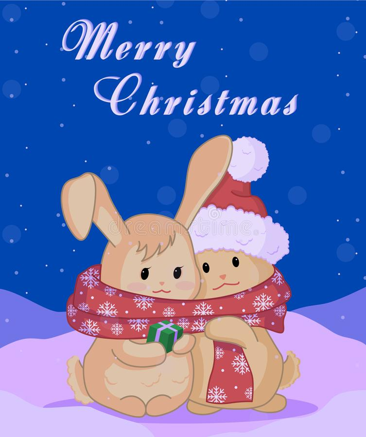 Рождественская открытка с милыми кроликами стоковые изображения rf