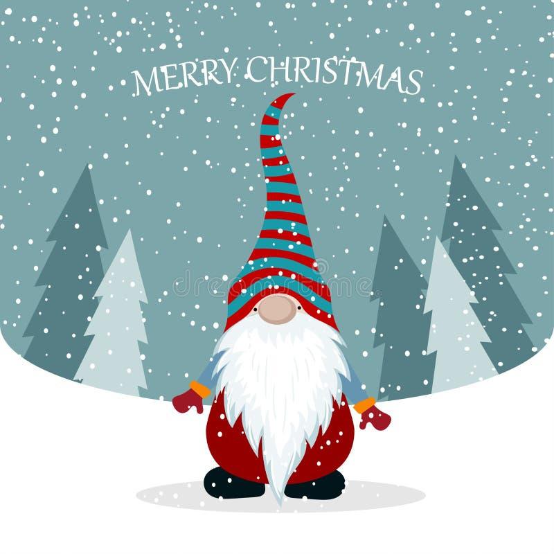 Рождественская открытка с милым гномом иллюстрация штока
