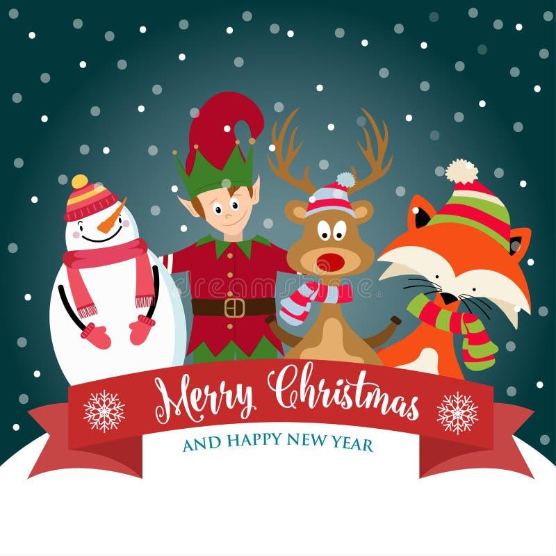 Рождественская открытка с милым эльфом, снеговиком, северным оленем и белкой иллюстрация вектора