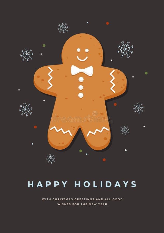 Рождественская открытка с праздниками человека и надписи пряника счастливыми иллюстрация вектора