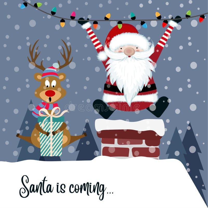 Рождественская открытка с Сантой и северным оленем иллюстрация штока