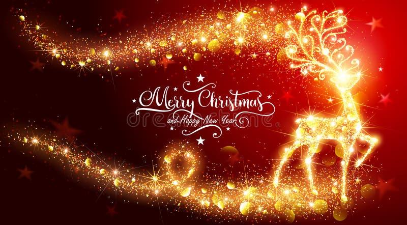 Рождественская открытка с сияющими волшебными оленями иллюстрация вектора